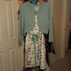 Polka dot dress with matching cardigan